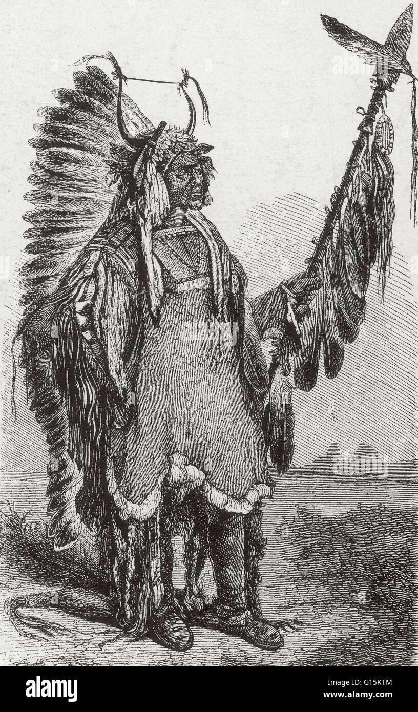 Engraving showing a Mandan Chief, after an 1830s work by Karl Bodmer originally titled 'The Mandan Chief Mah - Stock Image