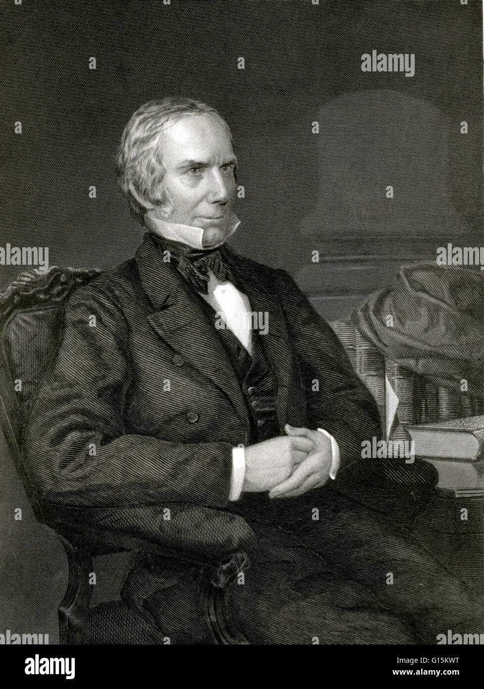 Engraving of Clay painted by Alonzo Chappel. Likeness from a daguerreotype by Root. Henry Clay, Sr. (April 12, 1777 - Stock Image