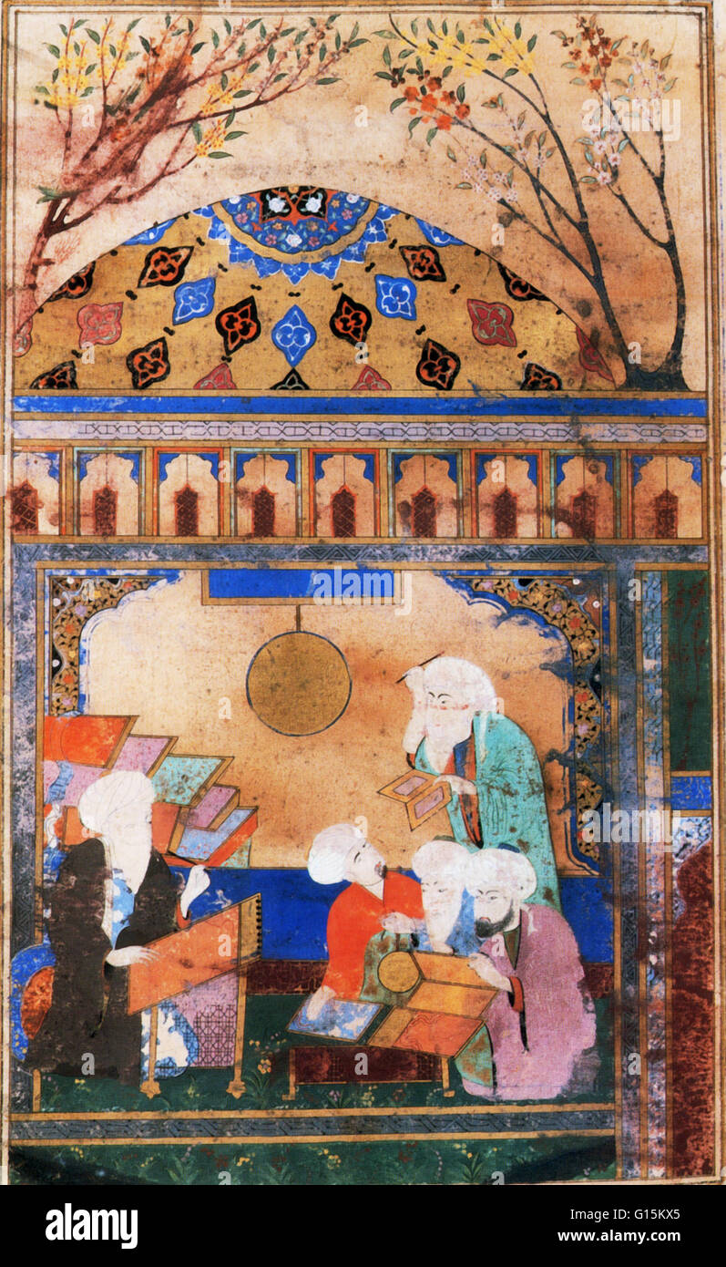 Artwork of persian astronomer and astrologer Nasir al-Din al-Tusi at his writing desk at the high-tech observatory - Stock Image