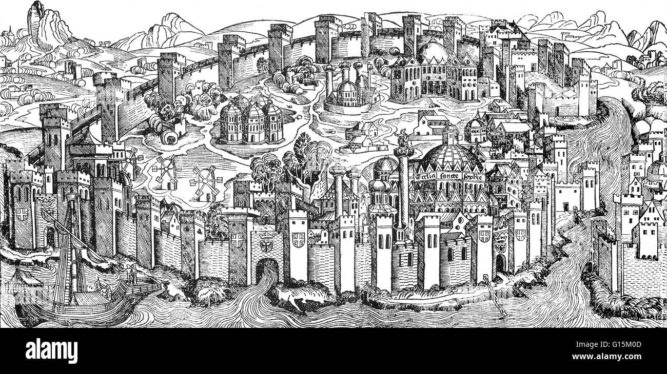 Illustration from Hartmann Schedel's, Buch der Chroniken und Geschichten, 1493. Constantinople was the capital - Stock Image