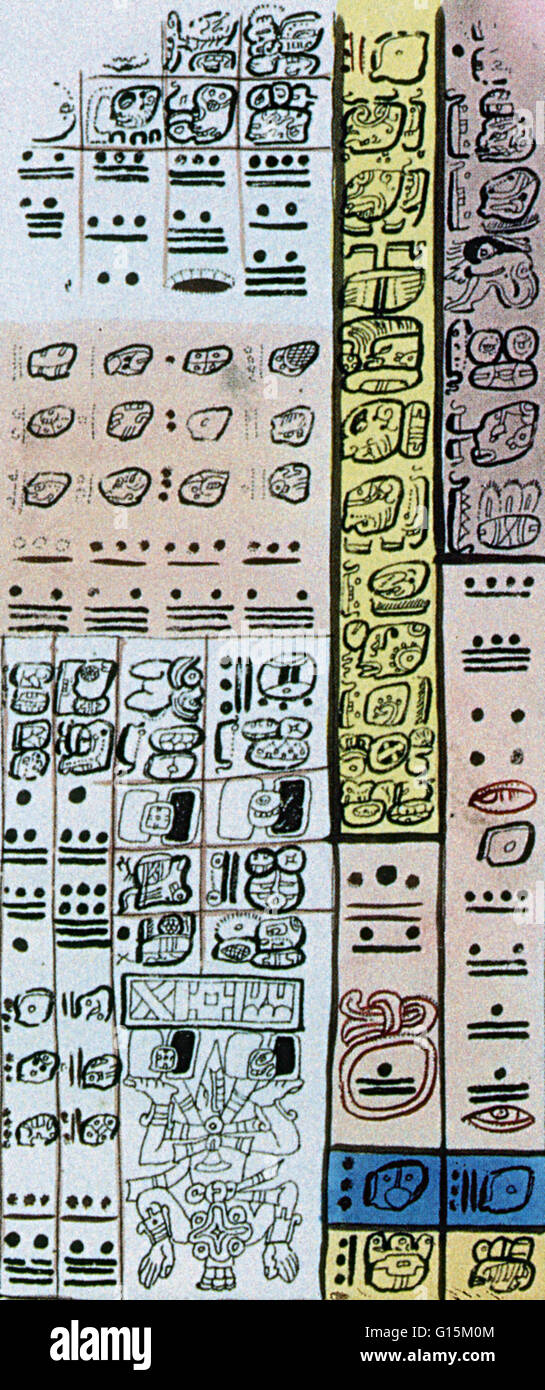 Maya numerals are a vigesimal (base-twenty) numeral system used by the Pre-Columbian (before the appearance of significant - Stock Image