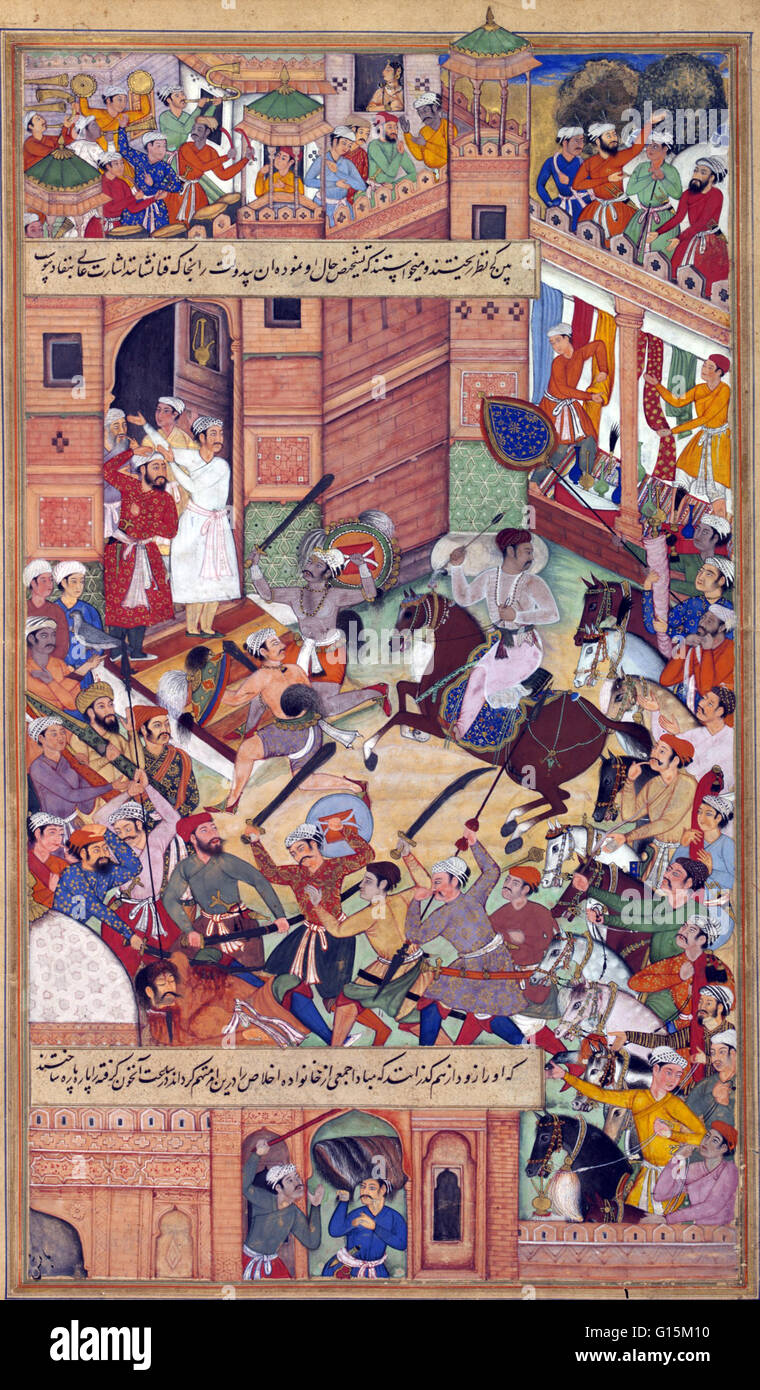 This miniature depicts an attempt on the life of Akbar at Delhi in 1564. Akbar is shown in white on horseback clutching - Stock Image
