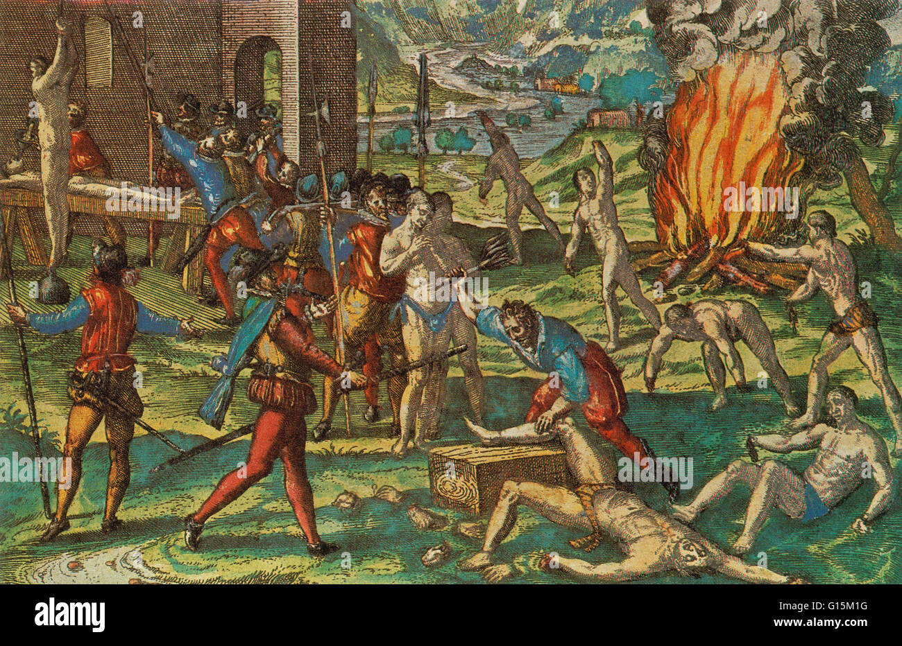 Spanish mistreatment of Indians was notorious. In their search for wealth, de Soto and his men tortured and brutally - Stock Image