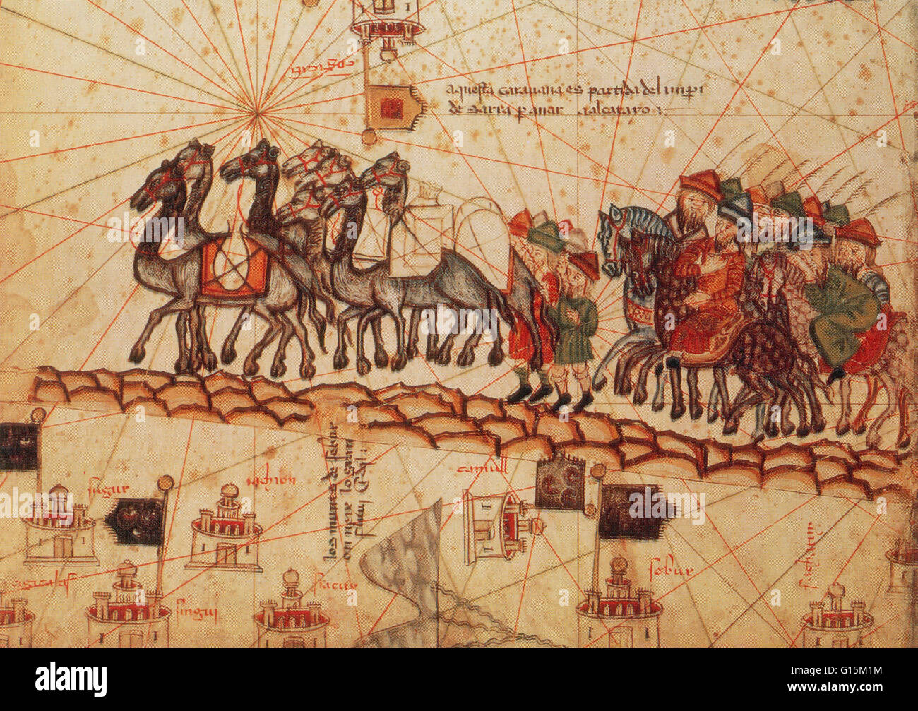 Marco Polo's caravan, in an illustration from the Catalan Atlas, circa 1375. Marco Polo (1254-1324) was a Venetian merchant traveler and the most famous Westerner to have traveled on the Silk Road. He excelled all the other travelers in his determination, Stock Photo