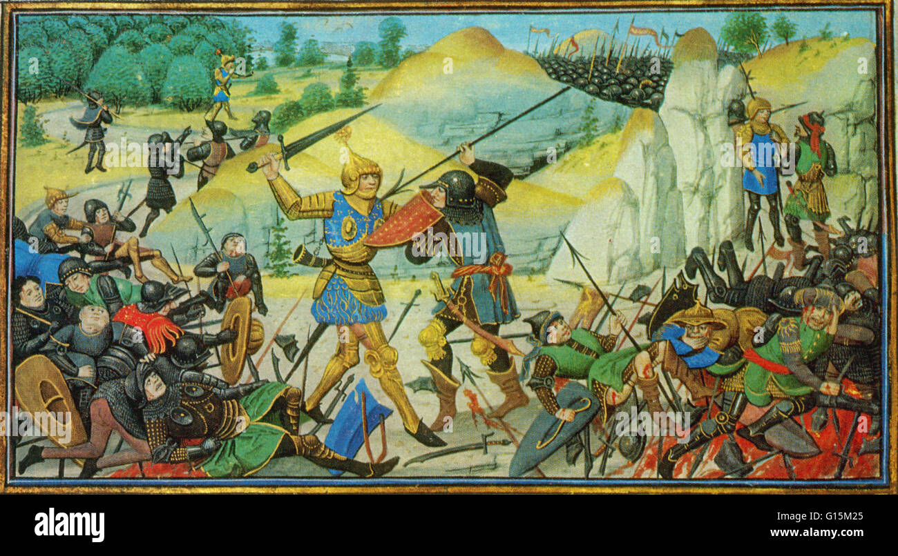 Battle of Roncevaux Pass, 778 and the death of Roland. 14th century illuminated manuscript. Roland was a Frankish - Stock Image