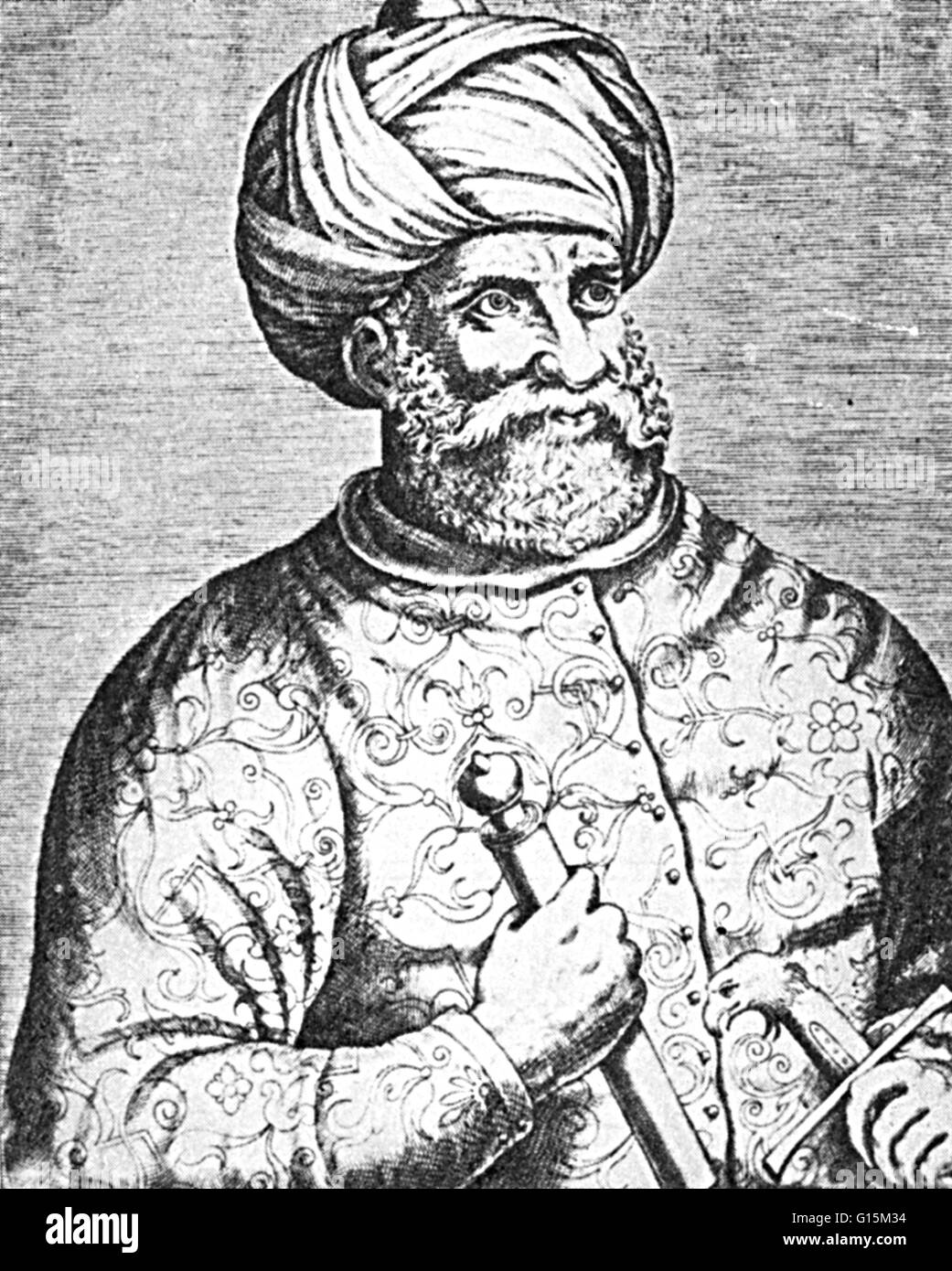 Hayreddin Barbarossa, or Barbarossa Hayreddin Pasha (1478-1546), was an Ottoman Turkish admiral of the fleet who - Stock Image