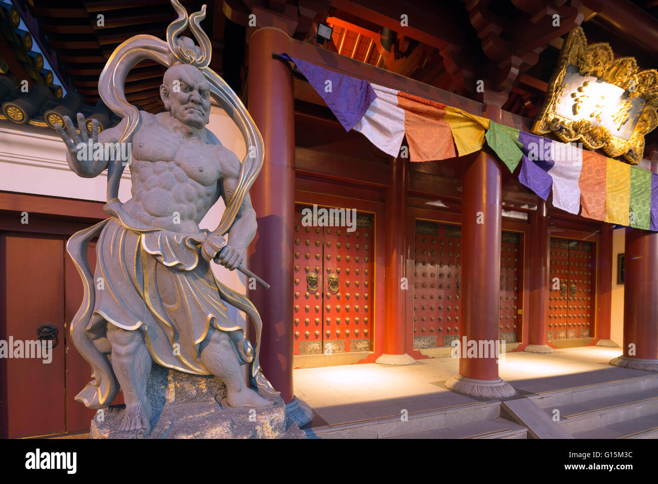 Guardian statue, Buddha Tooth Relic temple, Chinatown, Singapore, Southeast Asia, Asia - Stock Image