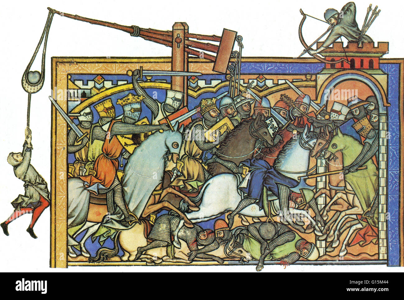 13th century miniature shows the weaponry used by the Knights Templar. Catapult (extreme left), battle-axe (center - Stock Image