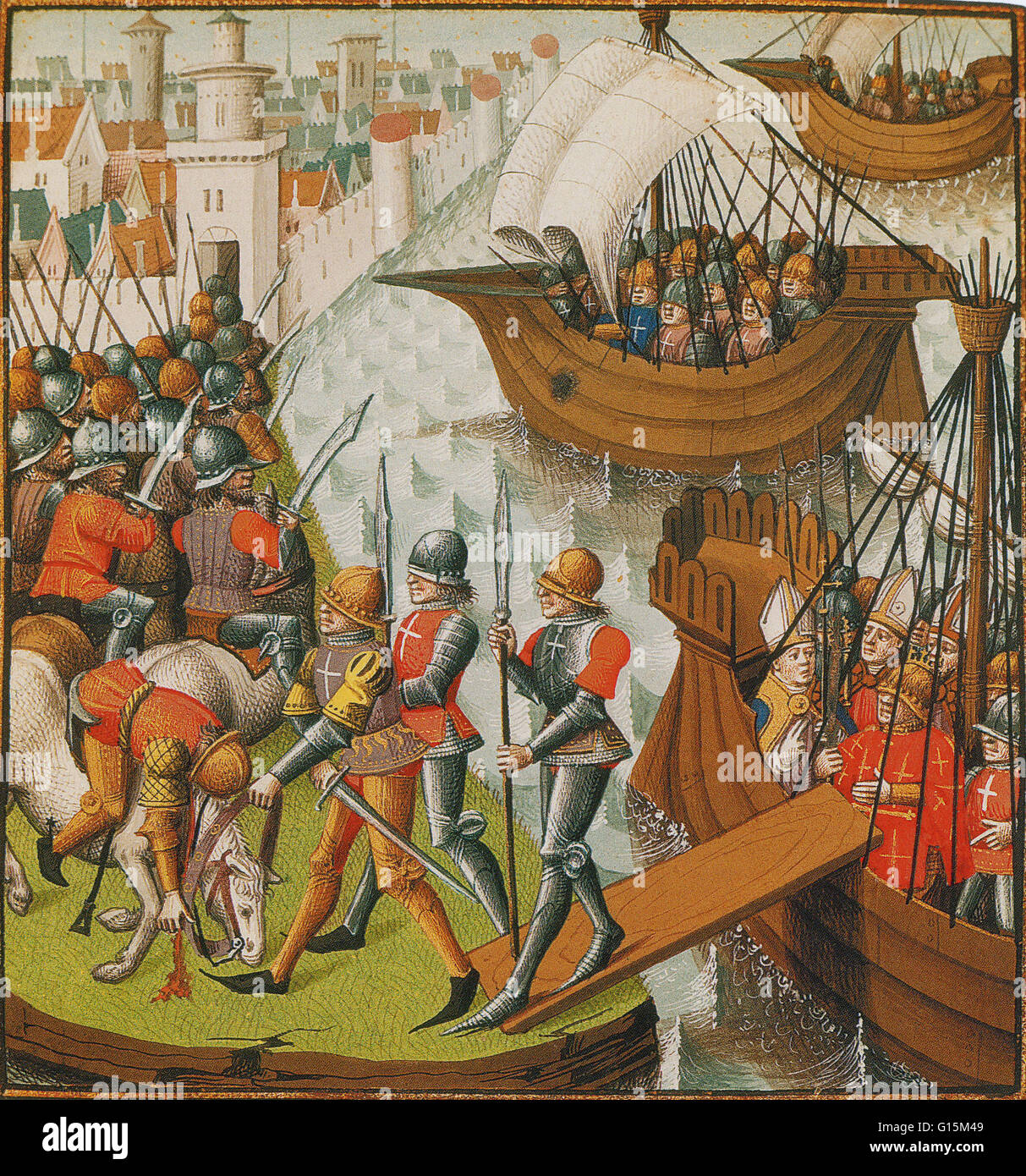 15th century illuminated manuscript shows the papal legate, Pelagius, waiting to disembark at Damietta, as troops - Stock Image