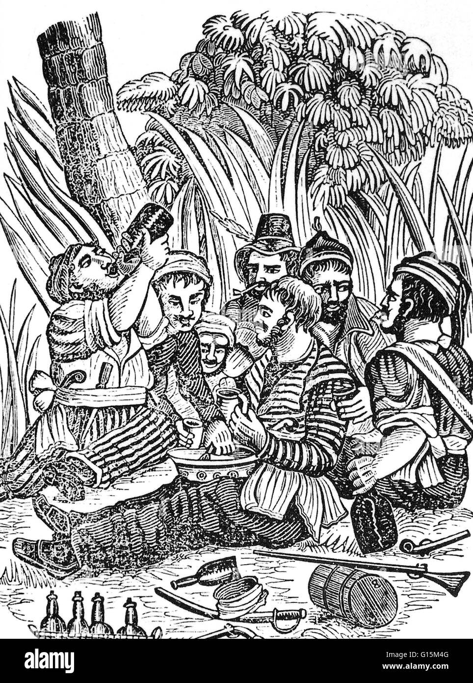 Bartholomew Roberts' crew drinking rum at the Calabar River in West Africa. Bartholomew Roberts (1682-1722) - Stock Image