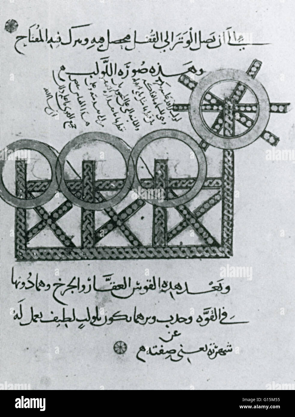 Illustration from a treatise compiled fro Saladin after the fall of Jerusalem. The triple bow had three sets of - Stock Image