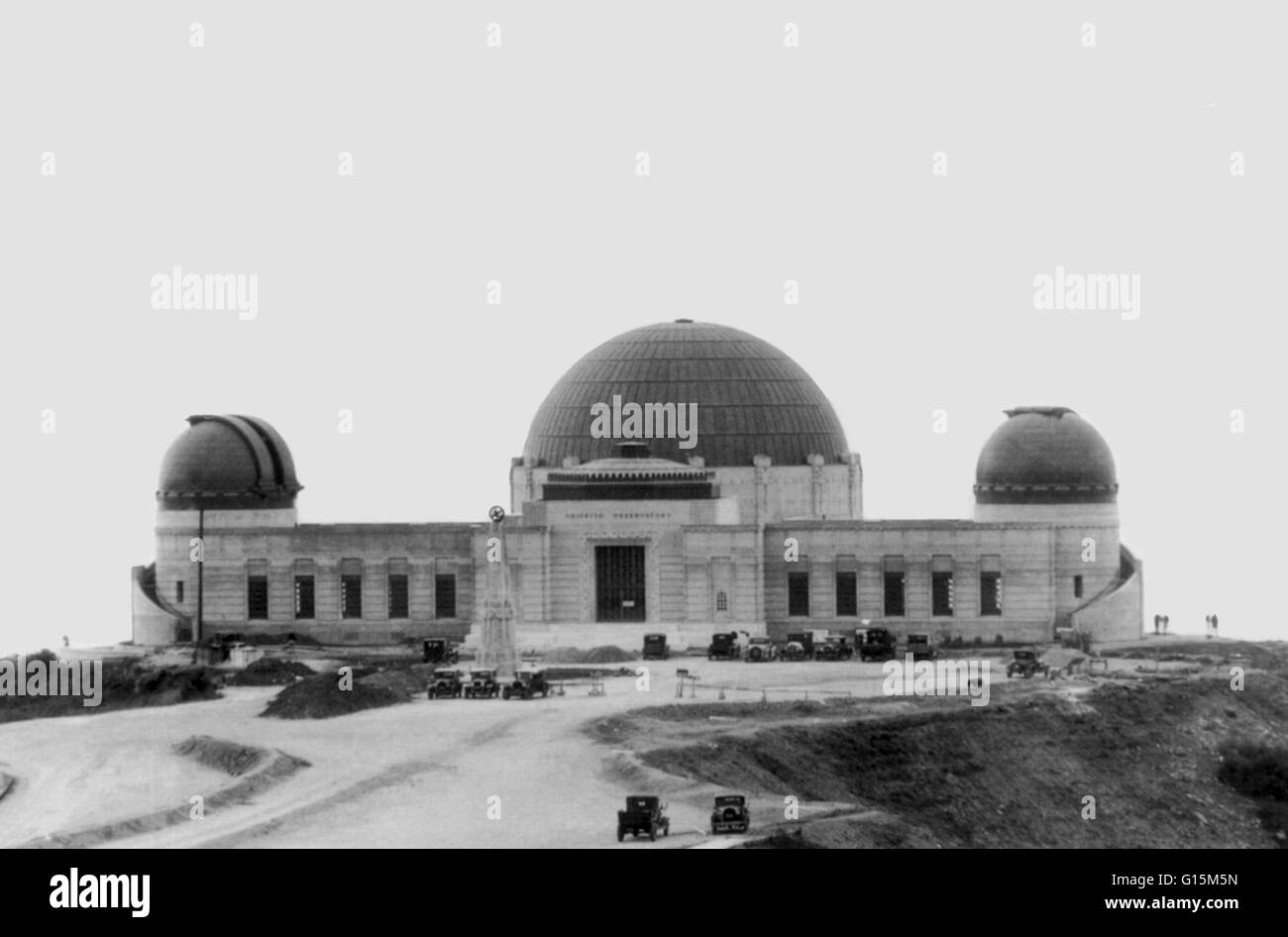 Griffith Observatory on Mount Hollywood in Los Angeles, founded in 1935. The right copper dome houses the solar - Stock Image