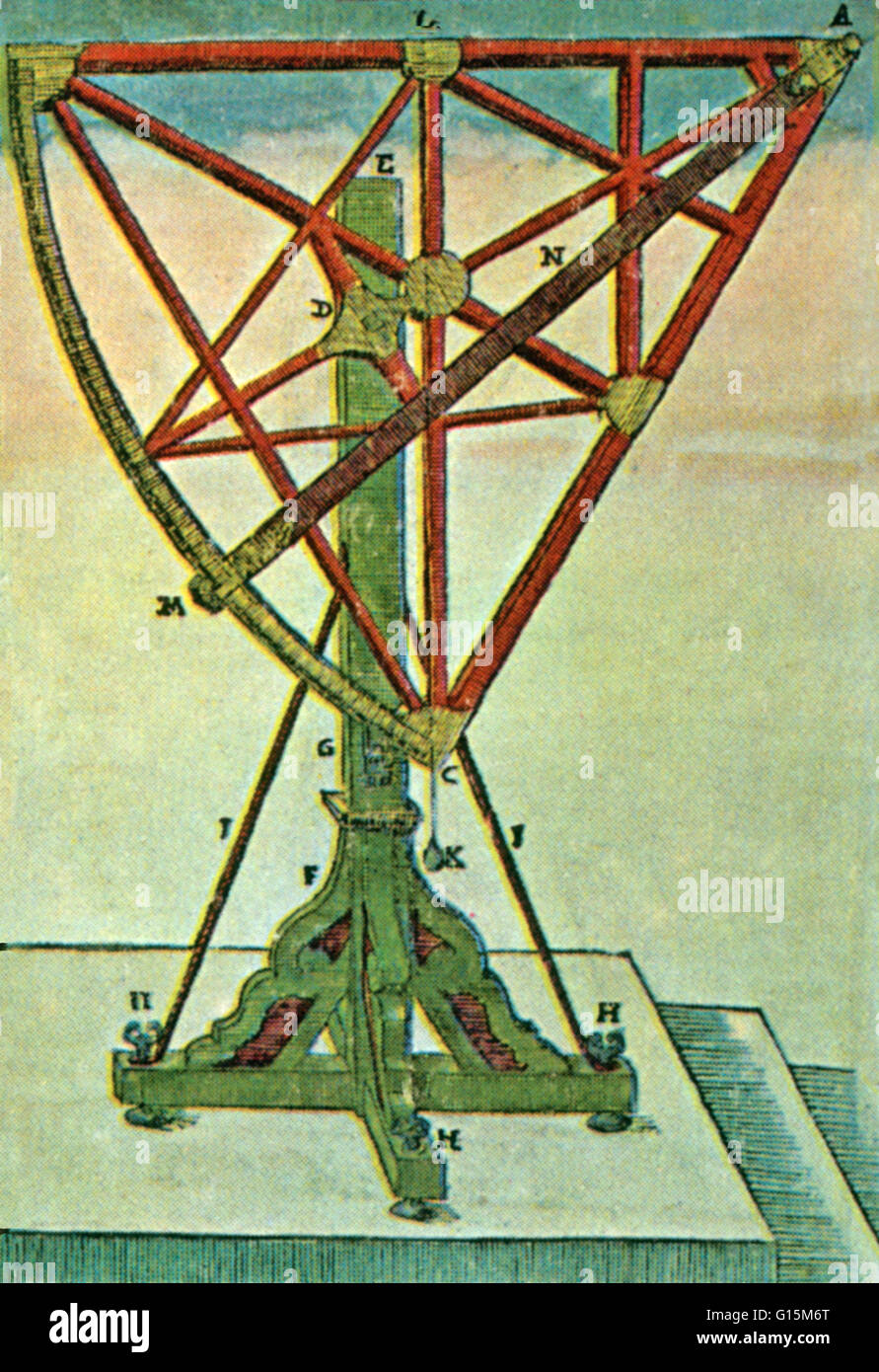 Tycho Brahe's sextant, which measured about six feet long on one side (AB). Tycho Brahe (1546-1601) was a Danish - Stock Image