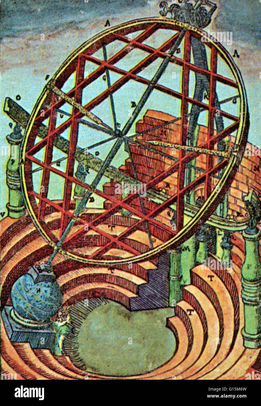 Tycho Brahe's equatorial armillary, which was about 16 feet high and had its own enclosure in Brahe's observatory. - Stock Image