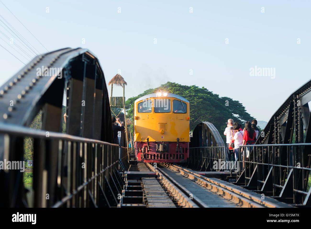Train crossing the Bridge over the River Kwai, Kanchanaburi, Thailand, Southeast Asia, Asia - Stock Image