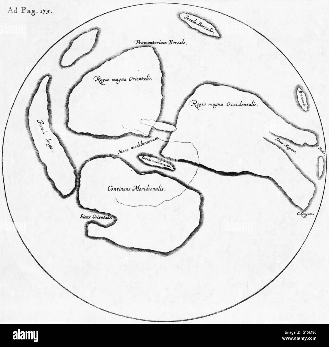 The only significant map of the moon made before the invention of the telescope, drawn by William Gilbert (1540 - Stock Image