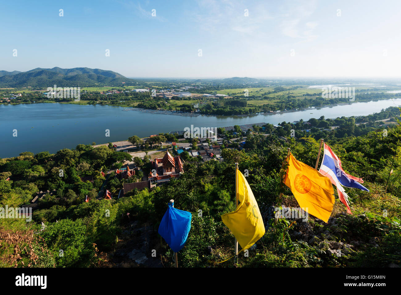 Wat Ban Tham (The Dragon temple) and River Kwai, Kanchanaburi, Thailand, Southeast Asia, Asia - Stock Image