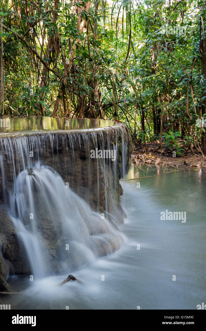 Erawan Falls, Erawan National Park, Kanchanaburi, Thailand, Southeast Asia, Asia - Stock Image