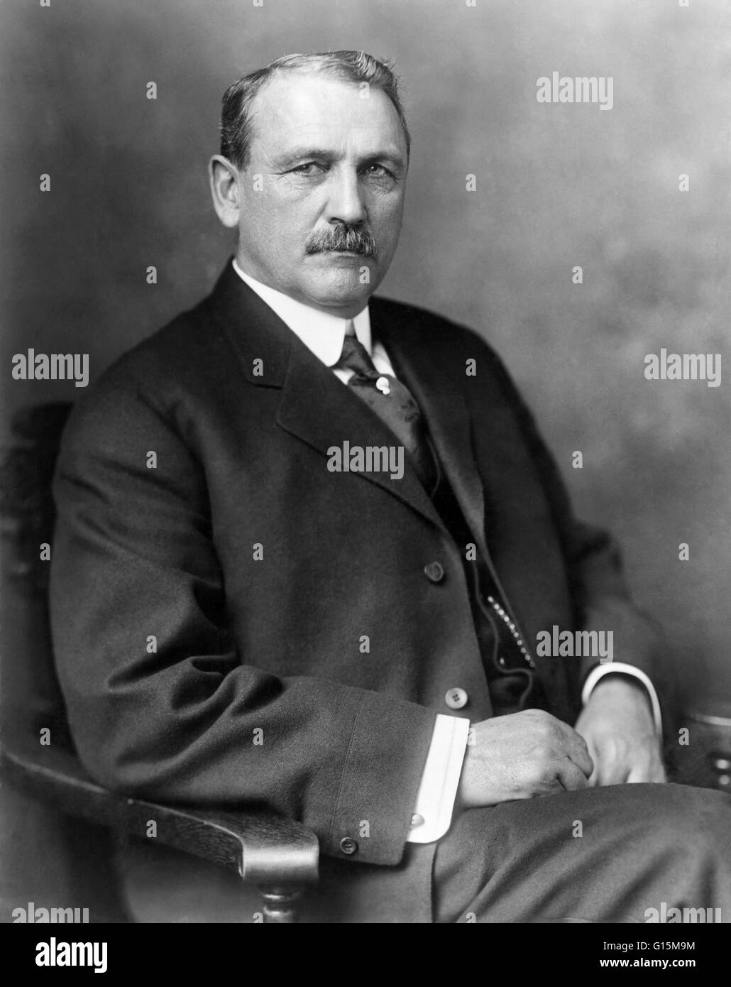 John Frank Stevens (April 25, 1853 - June 2, 1943) was an American engineer responsible for building the Great Northern - Stock Image