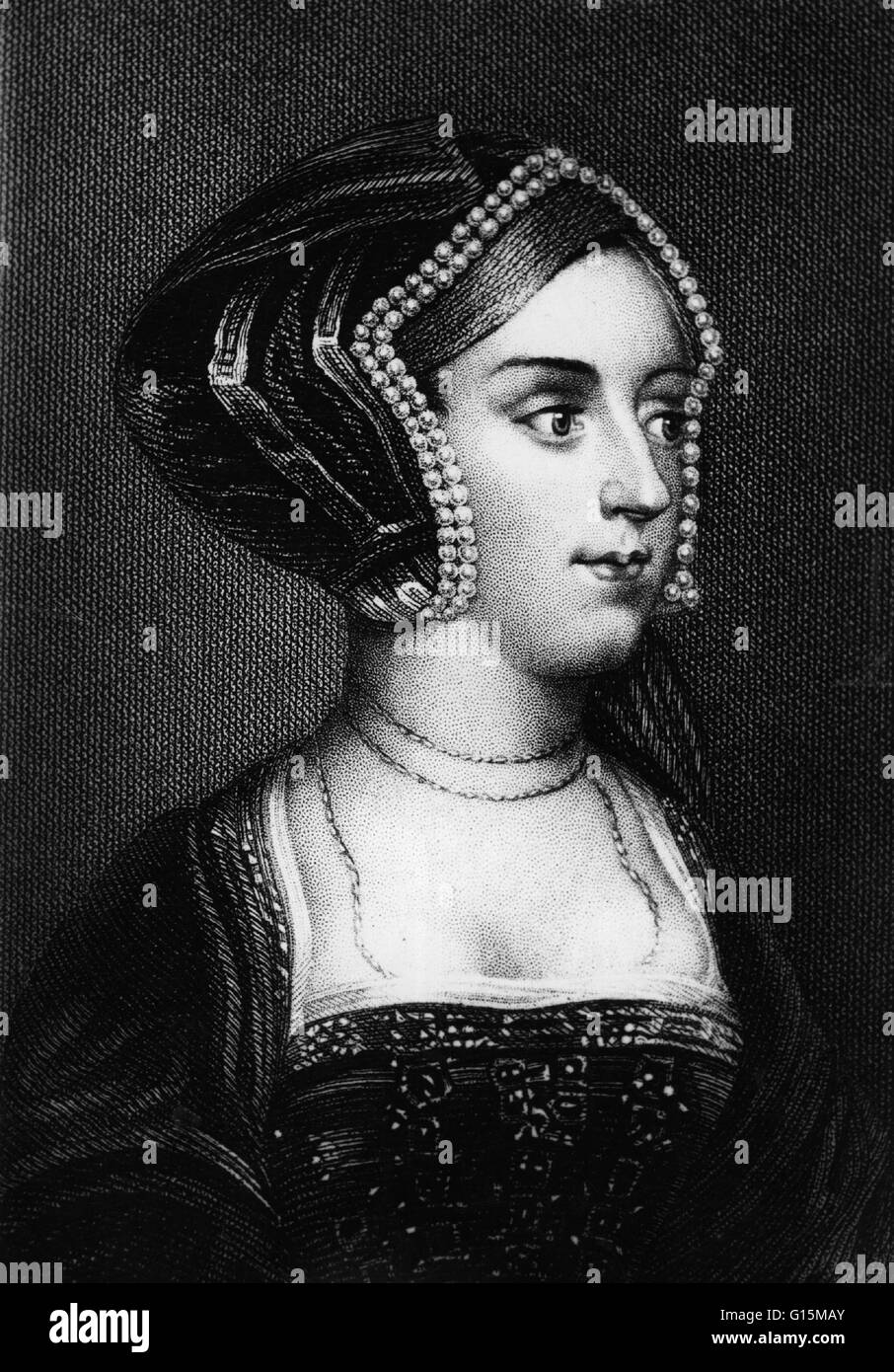 Anne Boleyn (1501 - May 19, 1536) was Queen of England from 1533 to 1536 as the second wife of Henry VIII. In 1526 - Stock Image