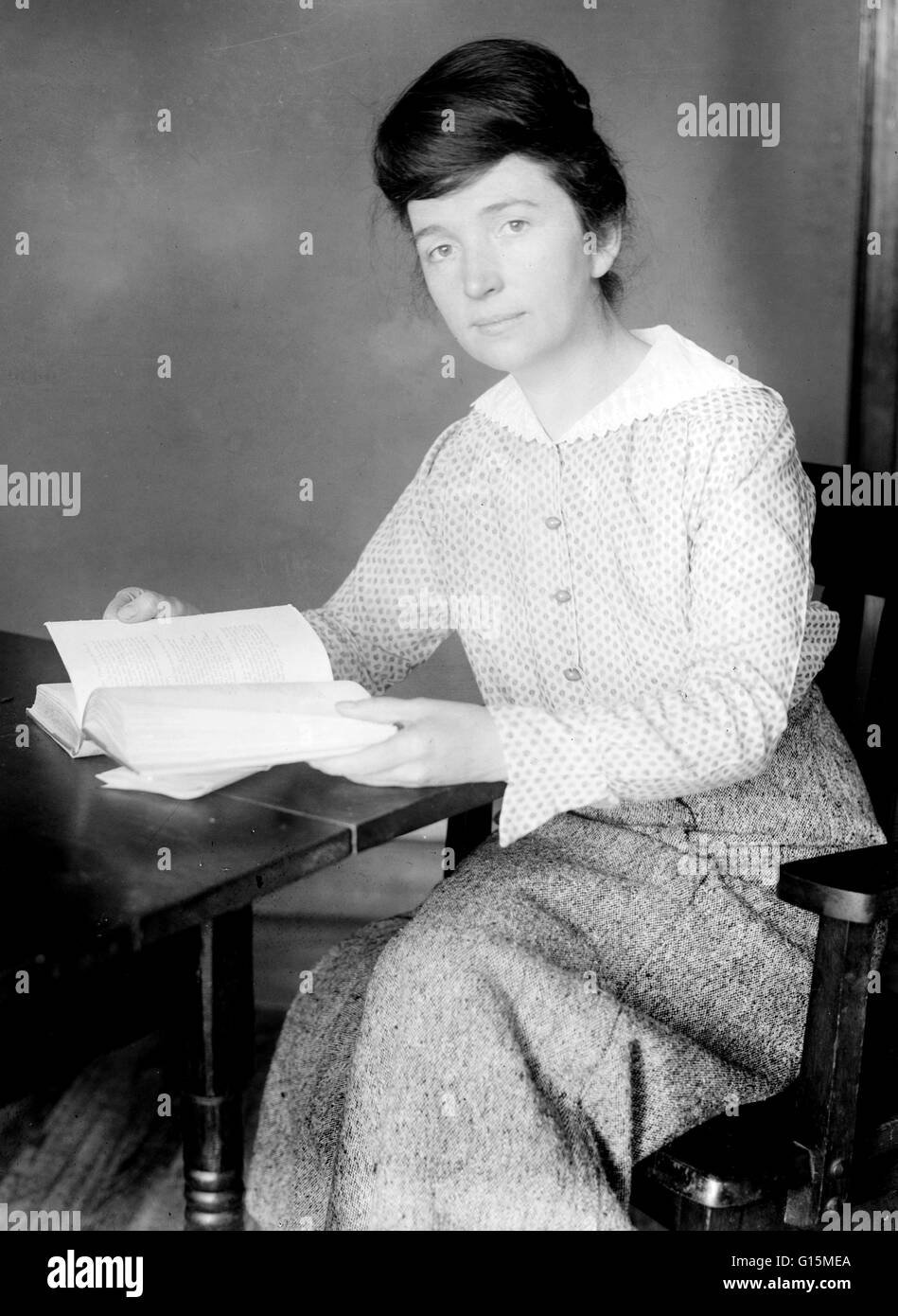 Margaret Louise Higgins Sanger (1879-1966) was an American social reformer and birth control advocate. When Sanger's - Stock Image
