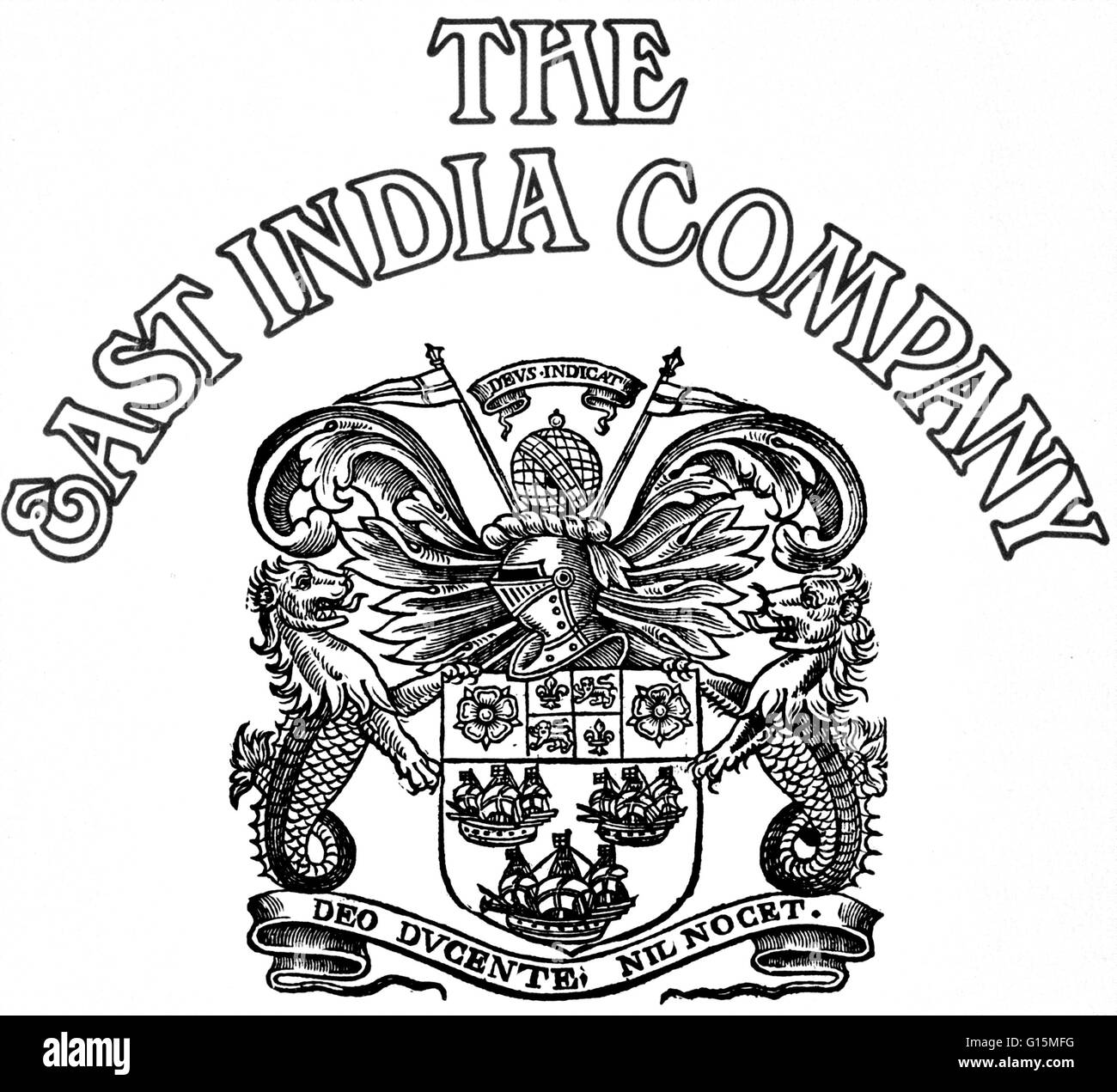 The company's first arms bear the motto: God leading, we are safe. The Dutch East India Company was a chartered - Stock Image