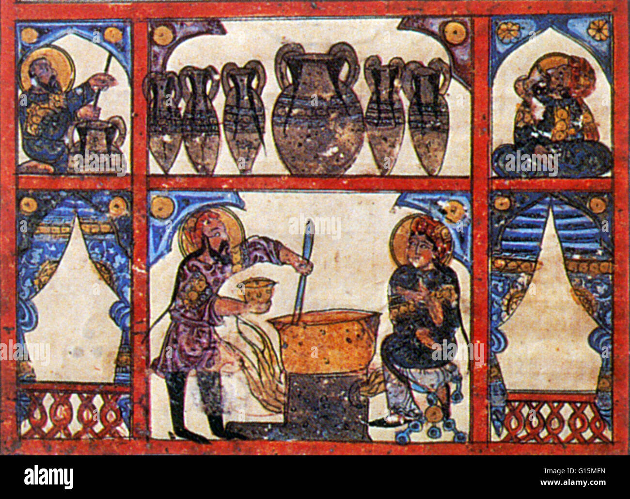 Arabic artwork entitled 'The Preparation of Medicine from Honey' from a 1224 Arabic translation of the manuscript - Stock Image