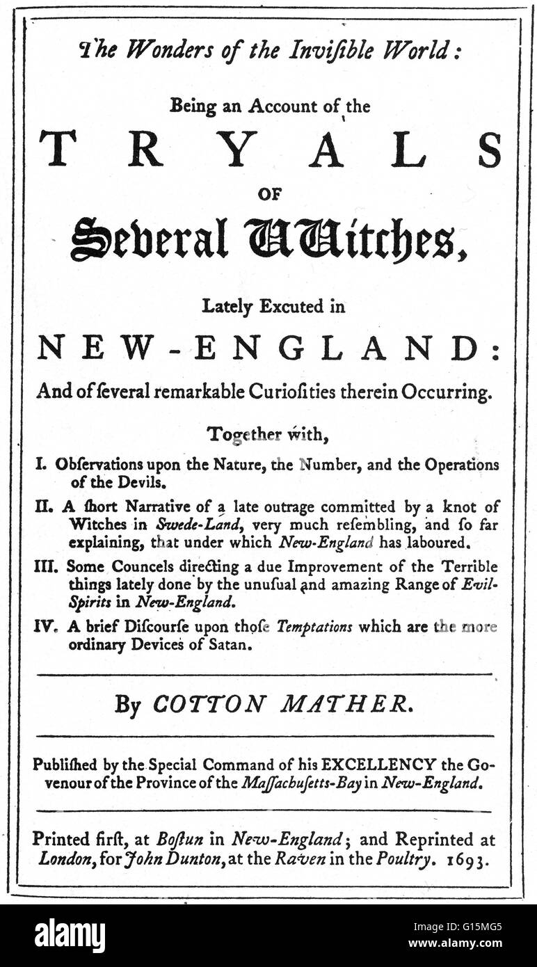Title page from the 'Wonders of the Invisible World', a book published in 1693 by Cotton Mather. His book - Stock Image
