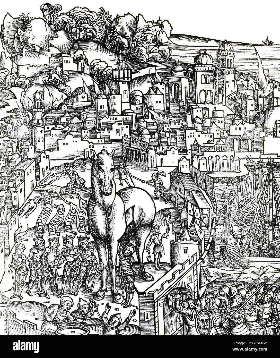The scene is illustrated in the style of the Middle Ages. The Trojan Horse is a tale from the Trojan War about the - Stock Image