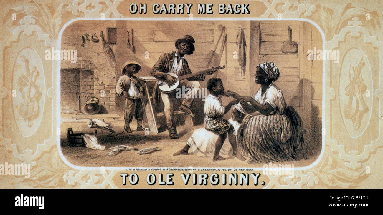 'Oh Carry Me Back to Ole Virginny', 1859. Tobacco package label showing African-American banjo player, woman, - Stock Image