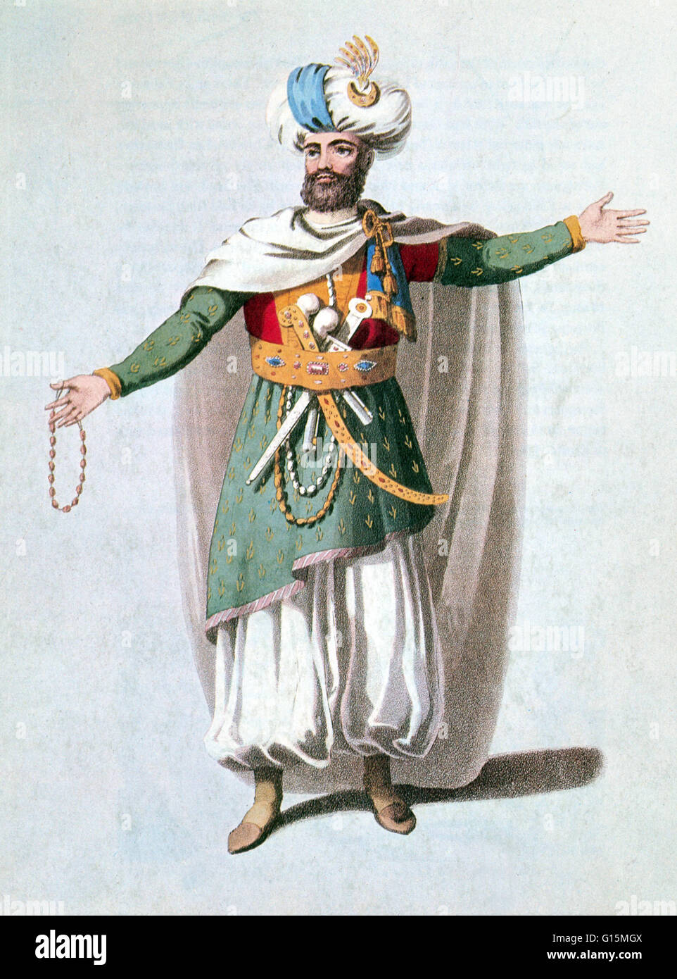 Sidy Hafsan, Bey of Tripoli (frontispiece portrait) from Narrative of a ten year's residence at Tripoli in Africa Stock Photo