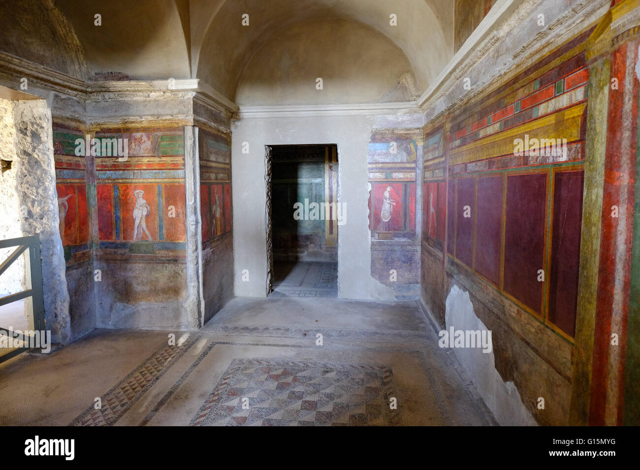 Roman frescoes at Villa of the Mysteries, Pompeii, UNESCO World Heritage Site, the ancient Roman town near Naples, - Stock Image