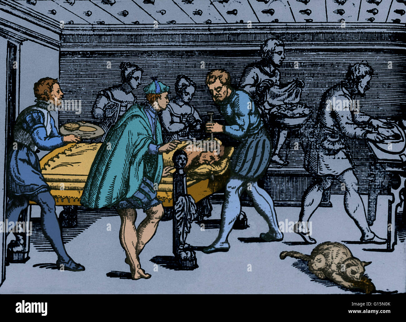 A highly realistic 16th-century scene of a craniotomy; this is the earliest depiction of a neurosurgical operation - Stock Image
