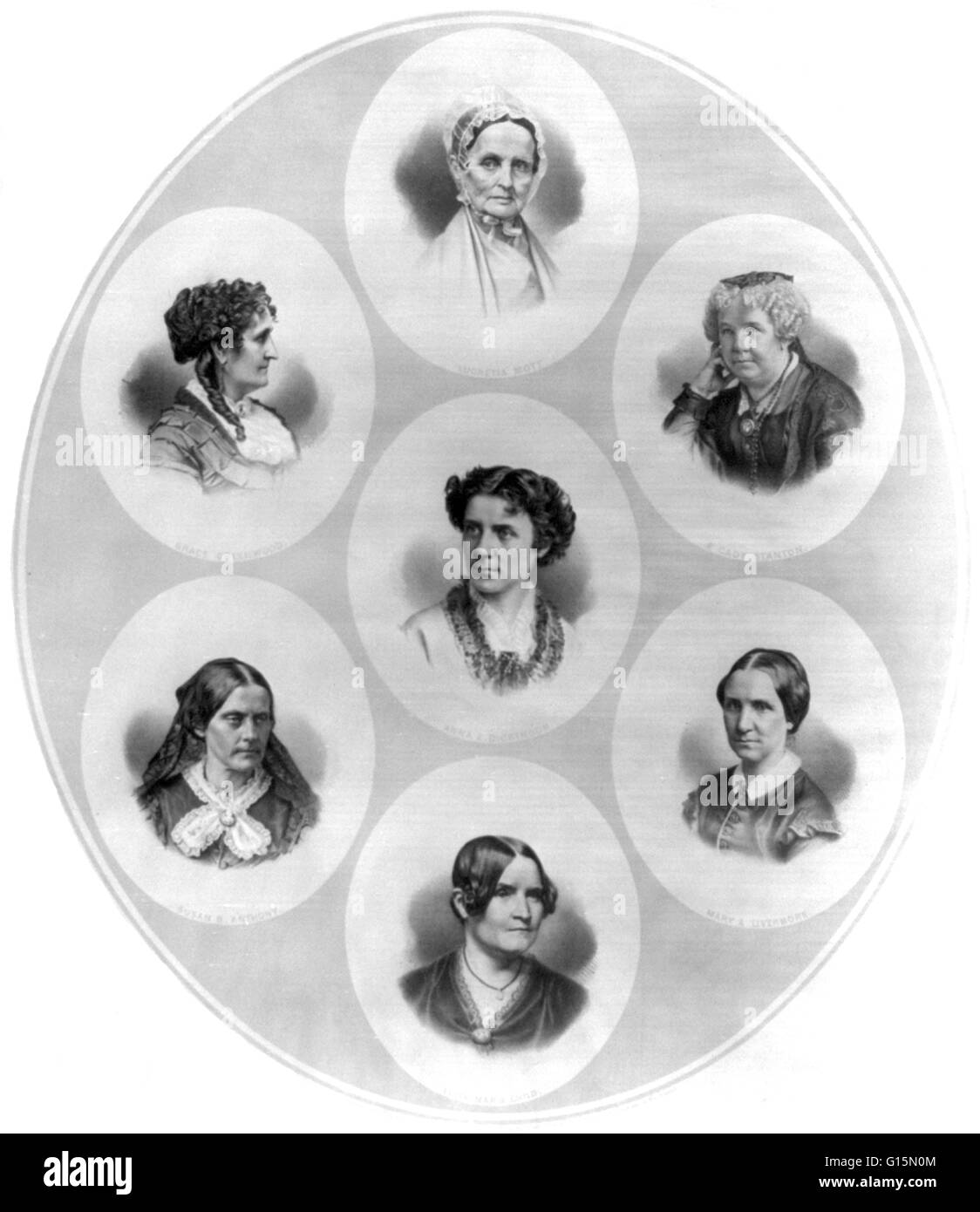 Lithograph containing portraits of seven prominent figures of the suffrage and women's rights movement. Lucretia Mott, Grace Greenwood, Elizabeth Cady Stanton, Anna Elizabeth Dickinson, Mary Ashton Rice Livermore, Susan Brownell Anthony and Lydia Maria Ch Stock Photo
