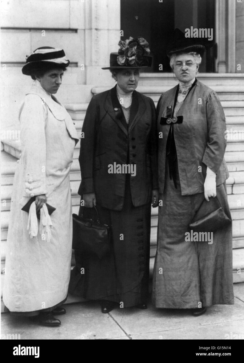 Julia Lathrop, Jane Addams, and Mary McDowell in Washington, 1913, on a suffrage mission on Capitol Hill. Jane Addams Stock Photo