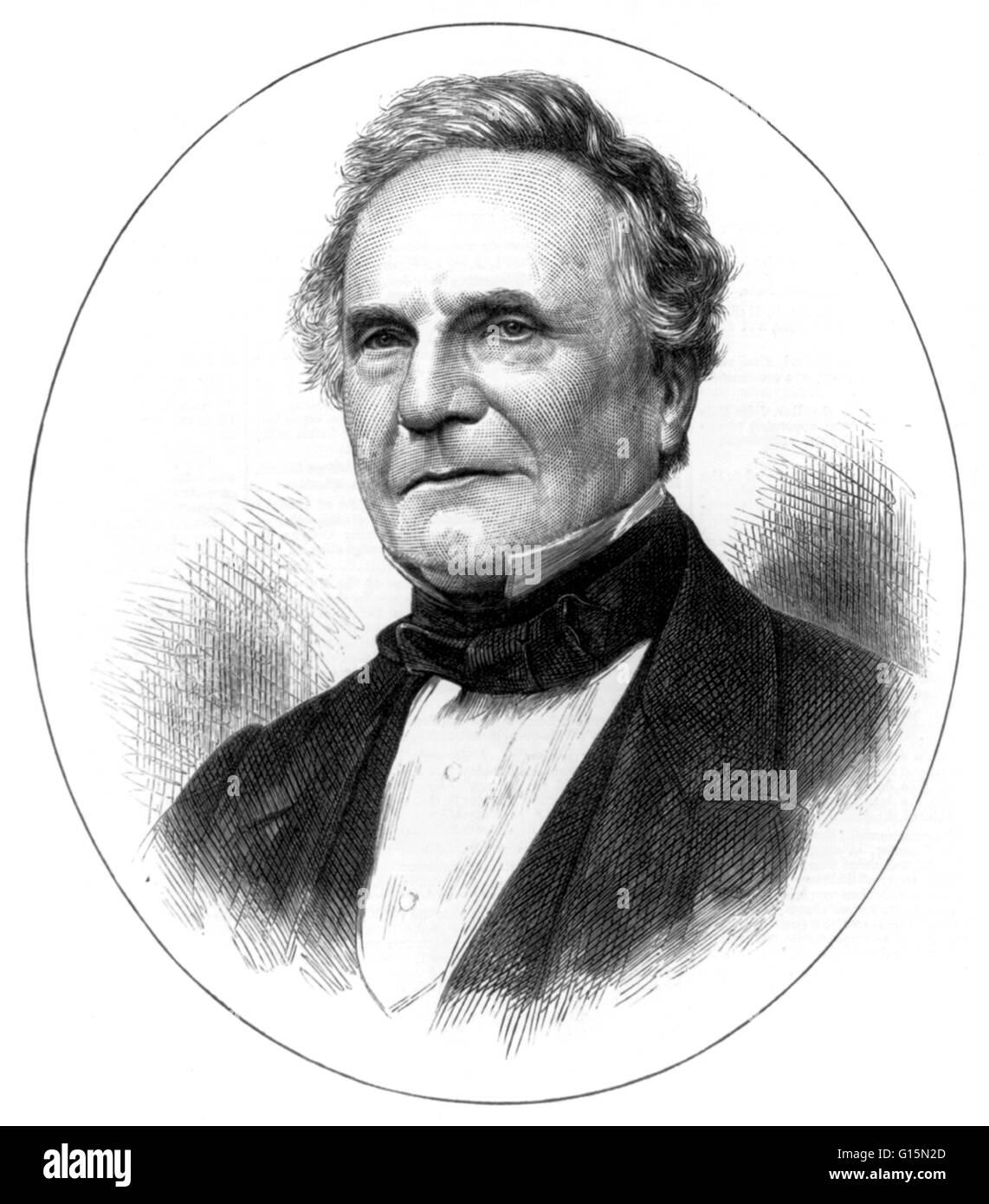 Charles Babbage (December 26, 1791 - October 18, 1871) was an English mathematician, philosopher, inventor and mechanical - Stock Image