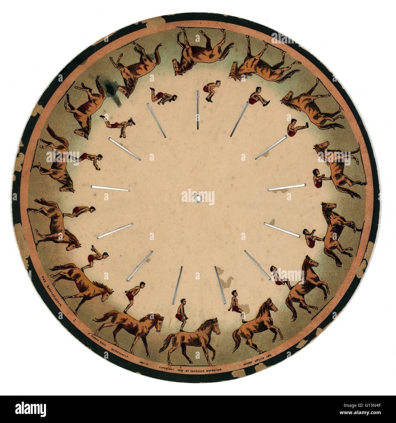 Muybridge Zoopraxiscope, Horseback Somersault, 1893. The zoopraxiscope is an early device for displaying motion - Stock Image