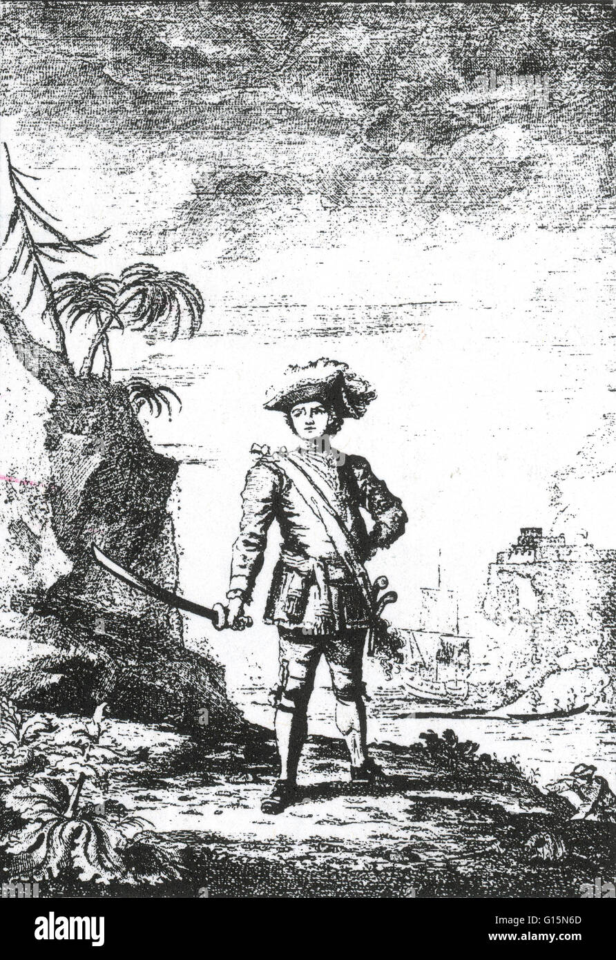 Bartholomew Roberts (1682-1722) was a Welsh pirate who raided ships off America and West Africa between 1719 and - Stock Image