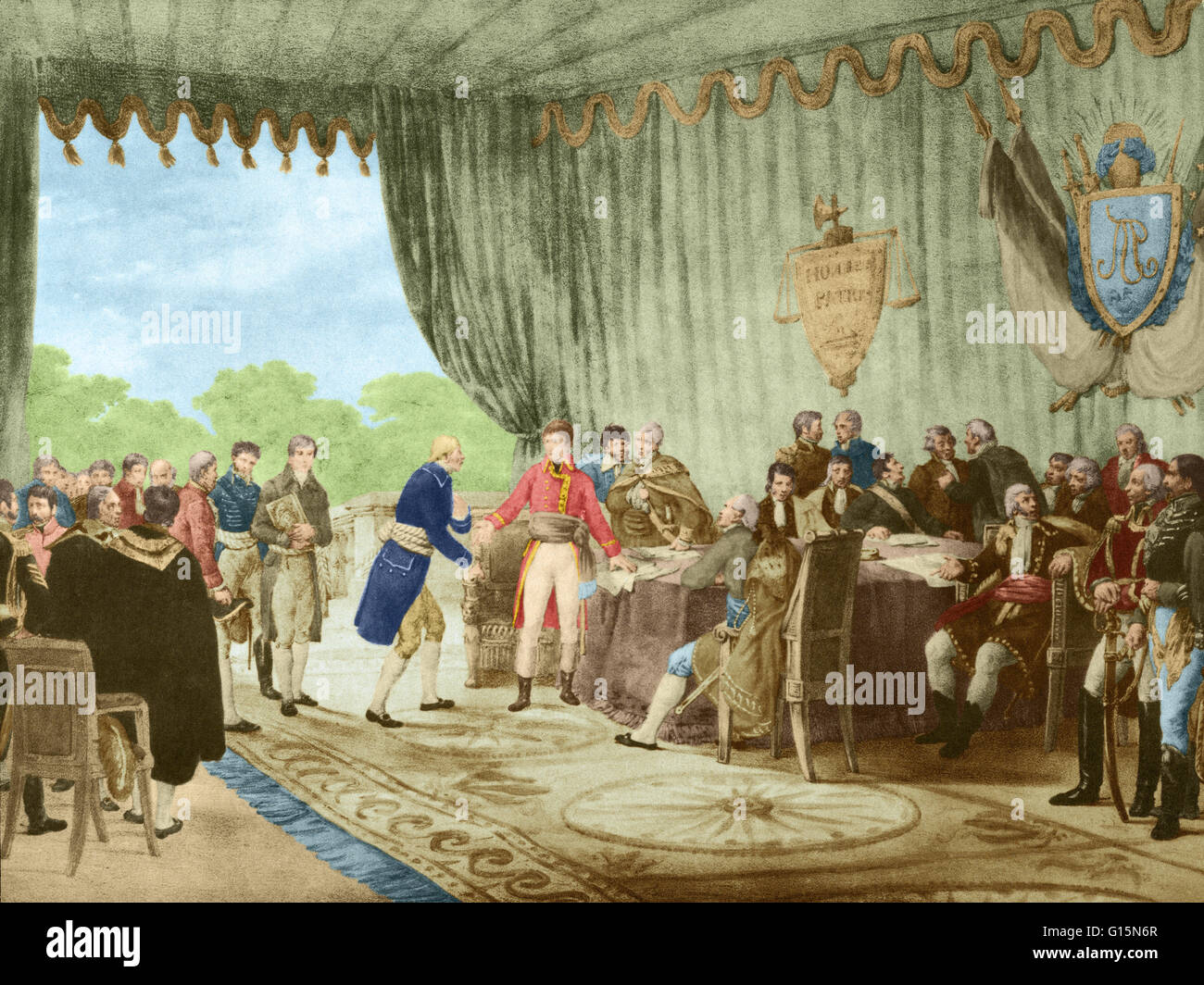 Color enhanced lithograph made from a Victor Adams painting shows Napoleon, who was not present at the signing, - Stock Image
