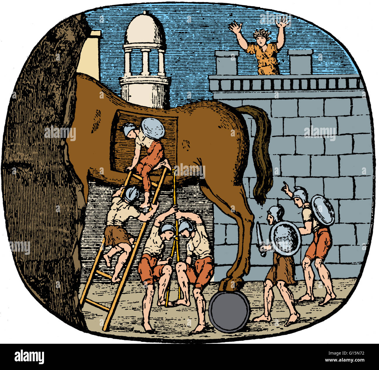 The Trojan Horse is a tale from the Trojan War about the stratagem that allowed the Greeks to finally enter the - Stock Image