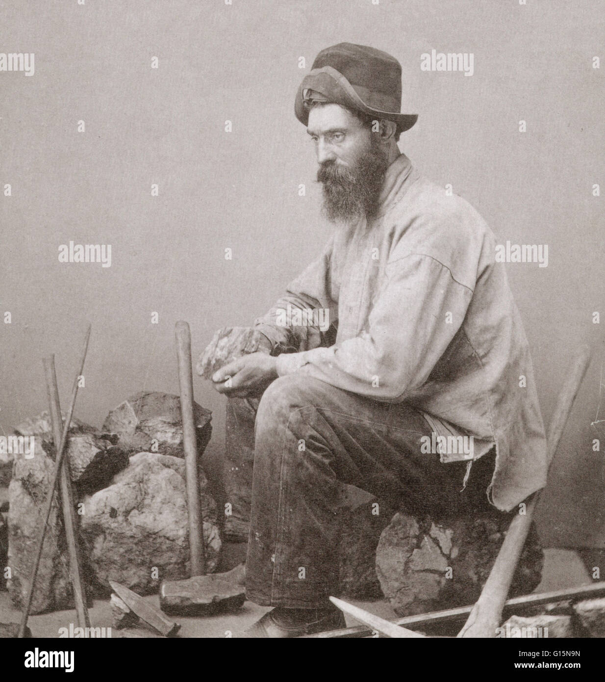 Walter S. Corwin, gold miner, photographed by E. H. Train, Helena, Montana. Montana's first period of growth - Stock Image