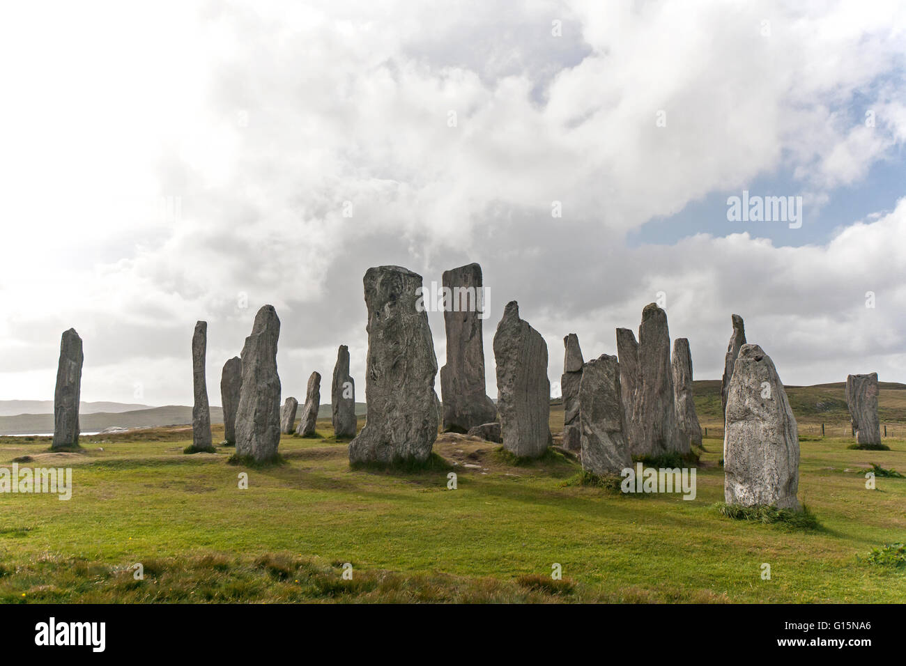 Inner circle of the standing stones of Callanish/ Calanais, Isle of Lewis. Outer Hebrides, Scotland - Stock Image