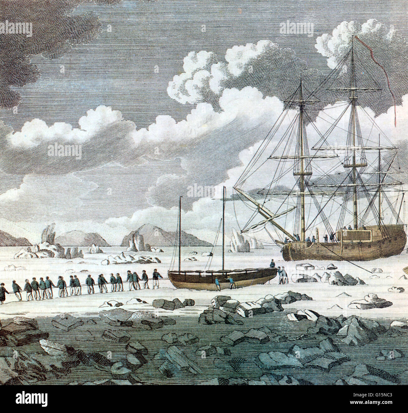 H.M.S. Racehorse and H.M.S. Carcass stuck in pack ice on an unsuccessful attempt made in 1773 to find the Northwest Stock Photo