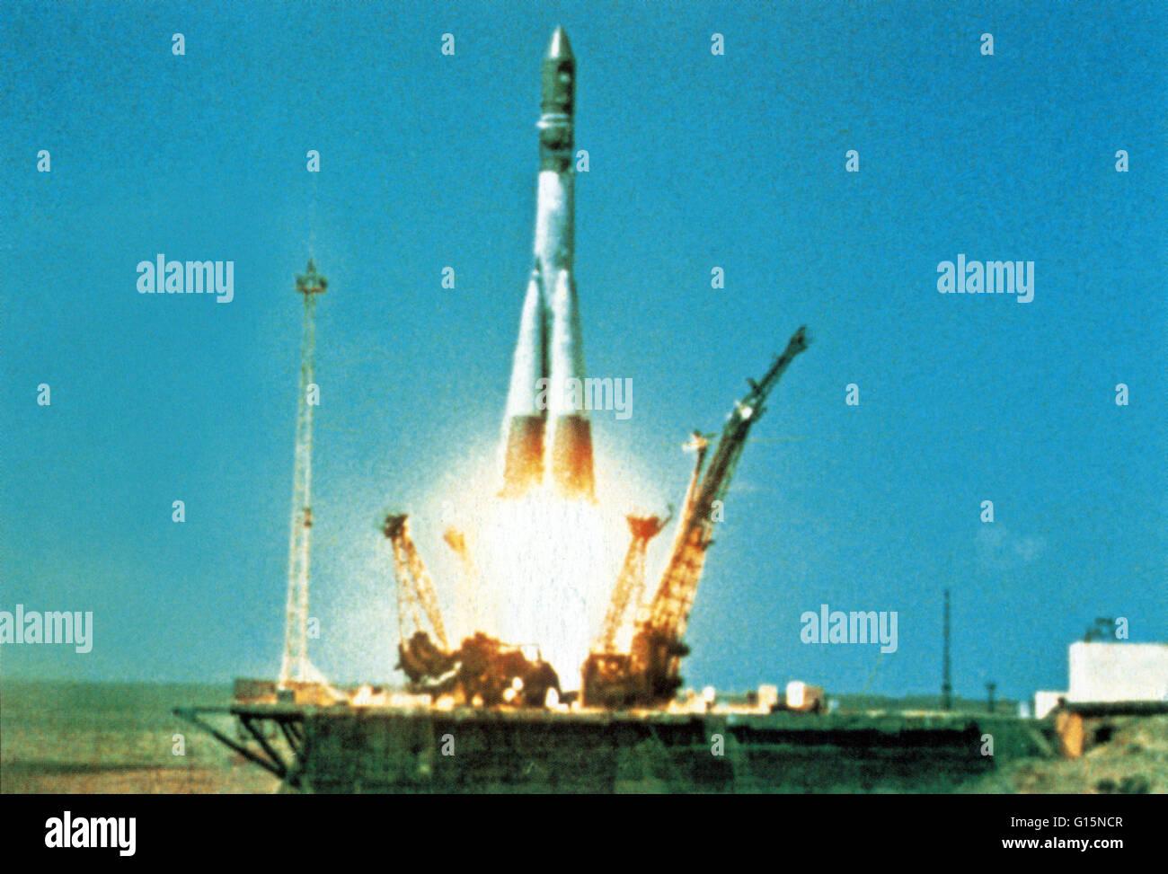 The Vostok booster leaves the Baikonur launch pad No. 1, carrying Soviet cosmonaut Yuri Gagarin towards Earth orbit - Stock Image