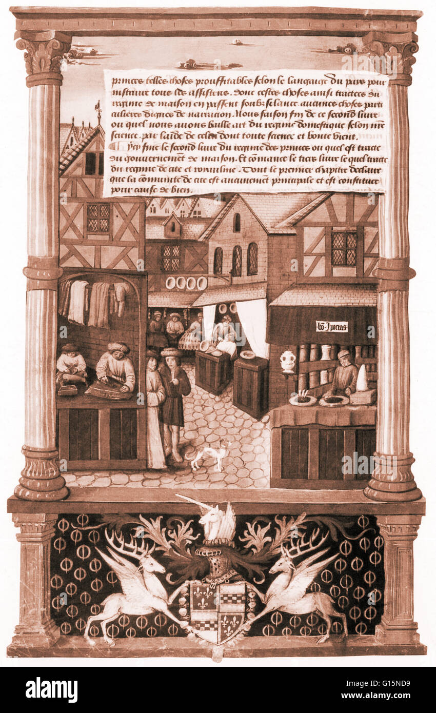 A 15th-century pharmacy operating under the sign 'Bon Hippocras' or 'Good Hippocrates' in Paris, - Stock Image