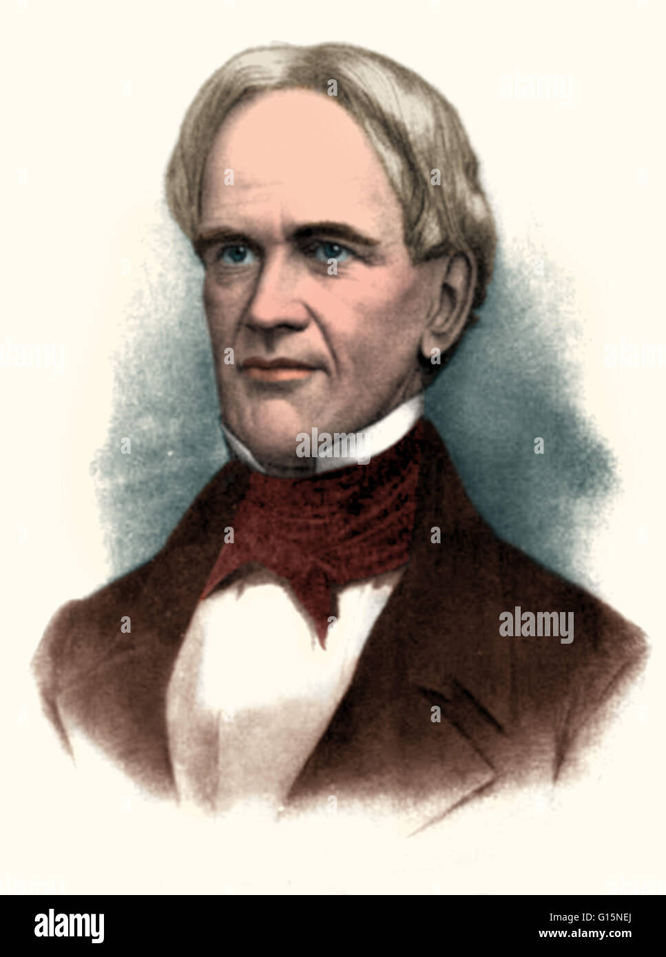Color-enhanced portrait of Horace Mann (May 4, 1796 - August 2, 1859), an American education reformer. As a politician - Stock Image