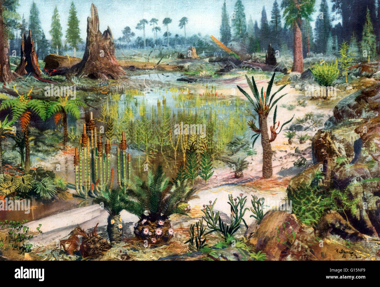 The Mesozoic Era is an interval of geological time from about 252 to 66 million years ago. It is often referred - Stock Image