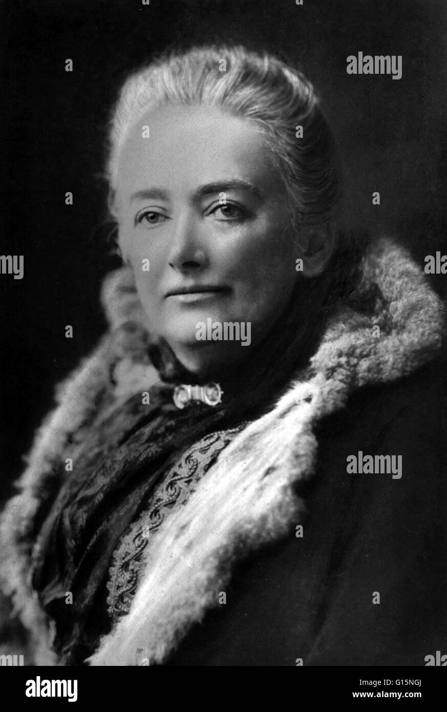 Edwards photographed for her American lecture tour, 1890. Amelia Ann Blanford Edwards (June 7, 1831 - April 15, - Stock Image