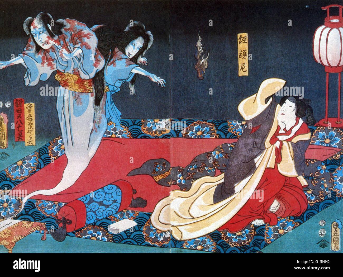 Detail of 'The Ghosts of Matahachi and Kikuno' by Utagawa Kunisada. Yurei are figures in Japanese folklore, - Stock Image