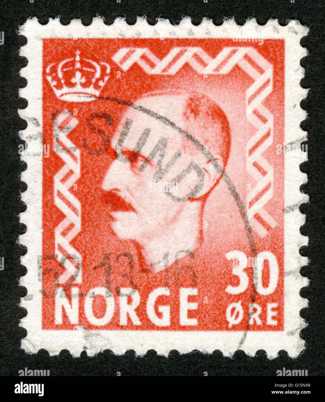 Haakon VII, King of Norway (1905-1957), postage stamp, Norway - Stock Image
